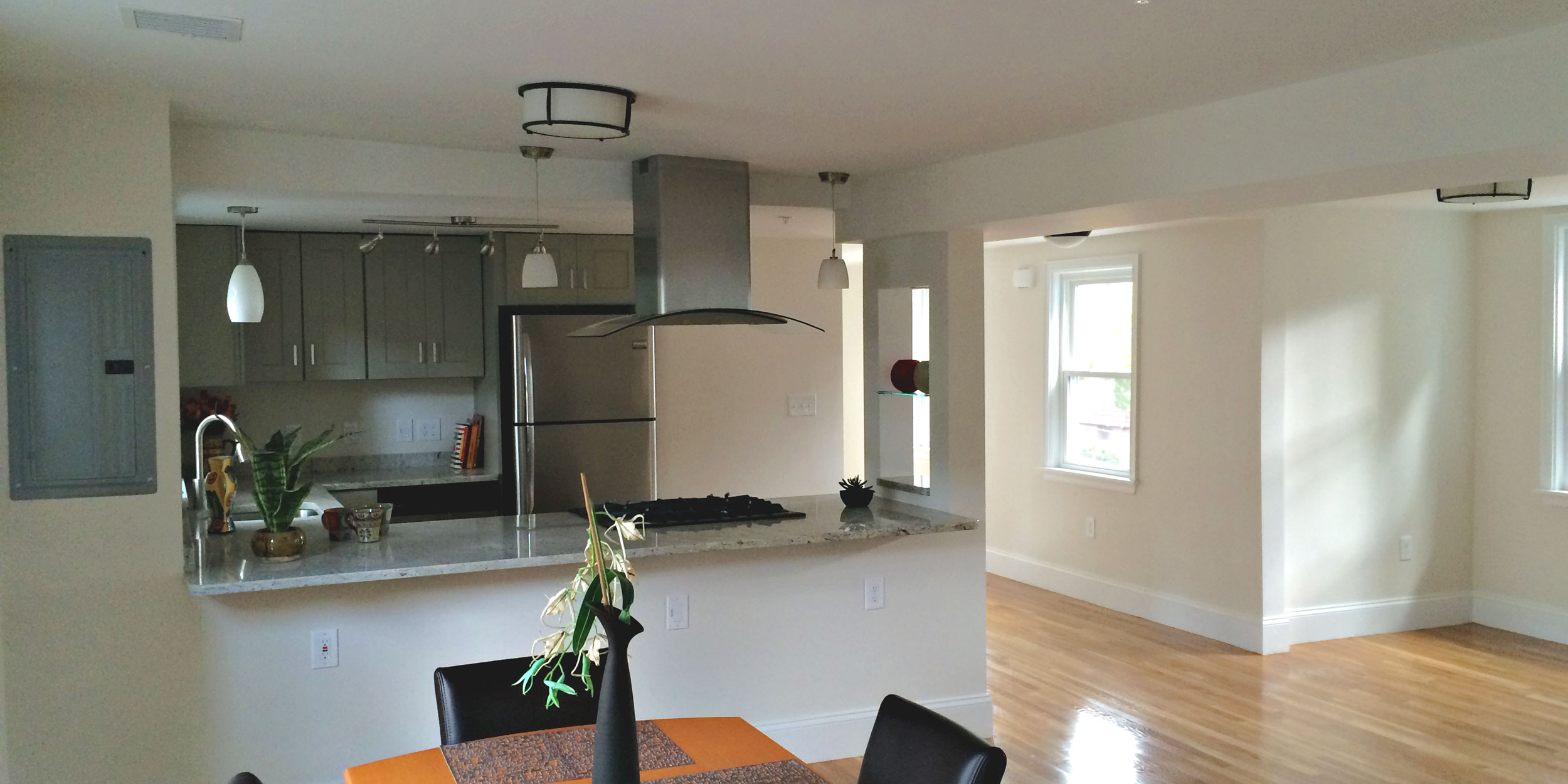 A kitchen painted white using interior latex paint in Wakefield, MA